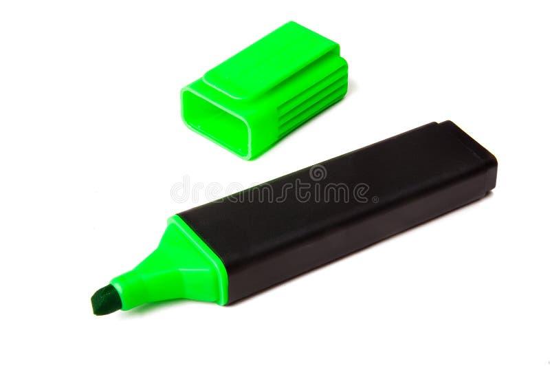 fluorescerande grön highlighterpenna royaltyfri bild