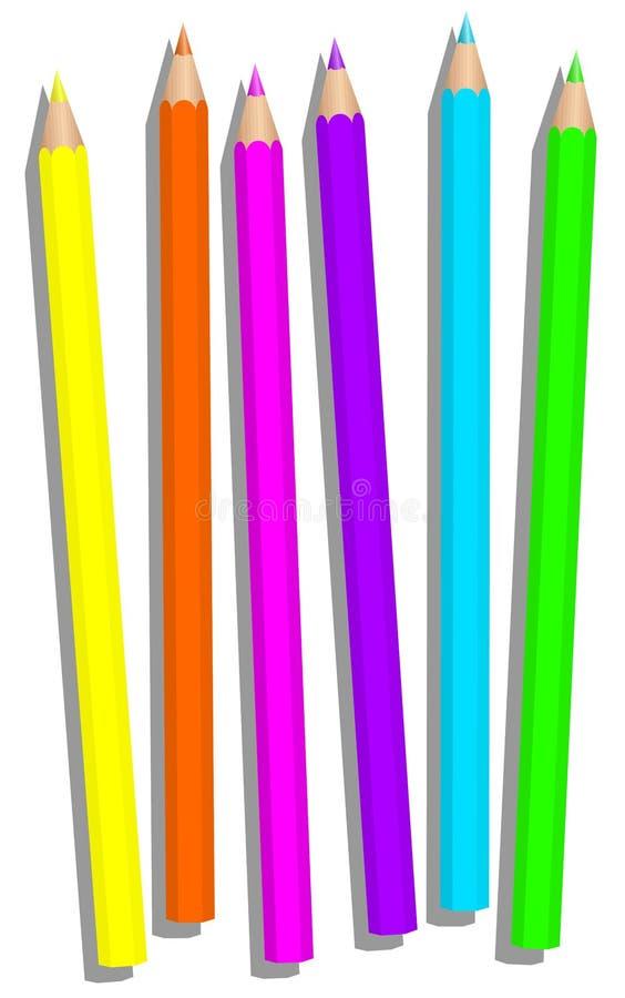 Fluorescerande Highlighterblyertspennor för färgpennor royaltyfri illustrationer