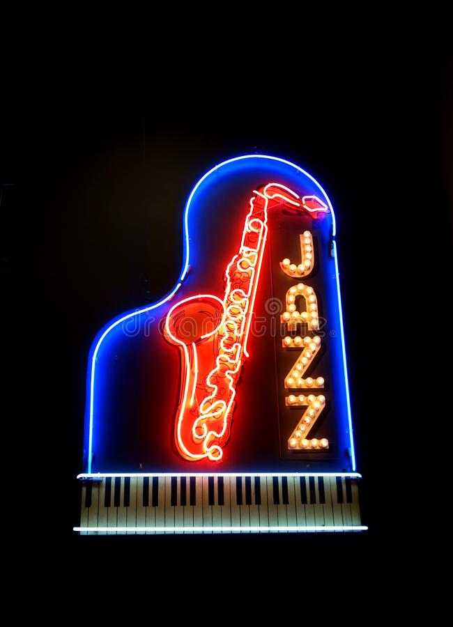 Fluorescerande Jazz Sign arkivfoton