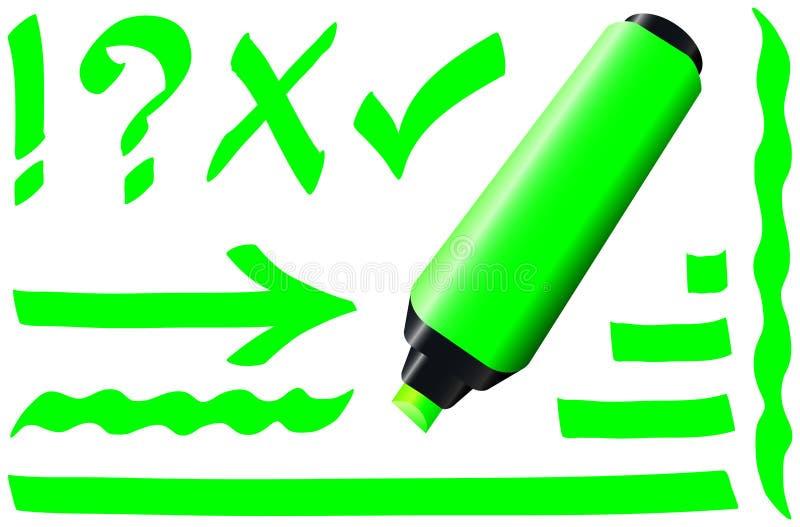 Fluorescerande markörgräsplan vektor illustrationer
