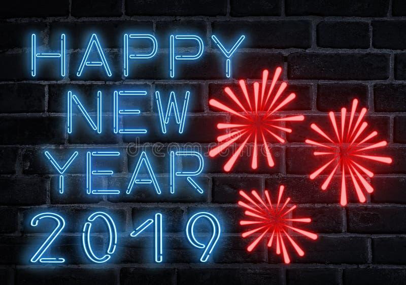 Fluorescerande neontext för lyckligt nytt år 2019 på väggen arkivfoto