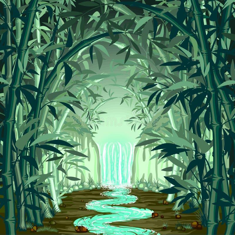Fluorescerande vattenfall på overklig bambuskog royaltyfri illustrationer