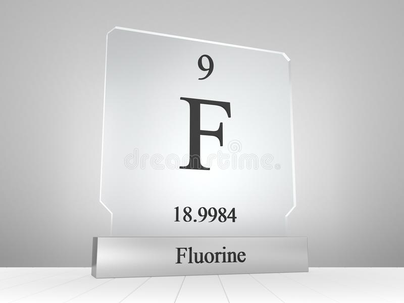 Fluorine Symbol On Modern Glass And Metal Icon Stock Illustration
