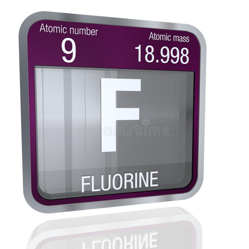 Fluorine symbol in square shape with metallic border and transparent background with reflection on the floor. 3D render vector illustration