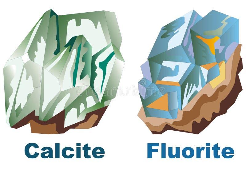Fluorite de cristal mineral da calcite ilustração stock