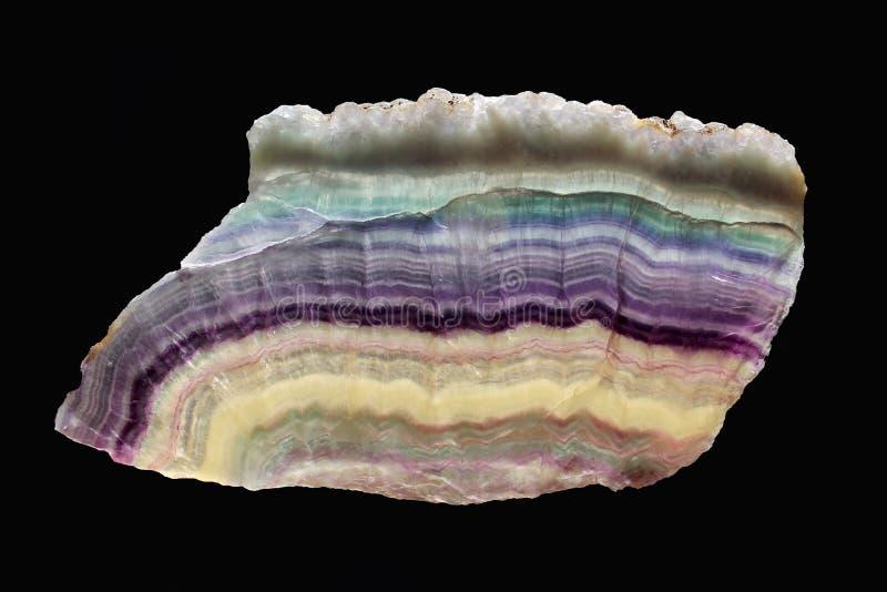 Fluorite dell'arcobaleno - bella fetta legata lucidata dal Sudafrica fotografia stock