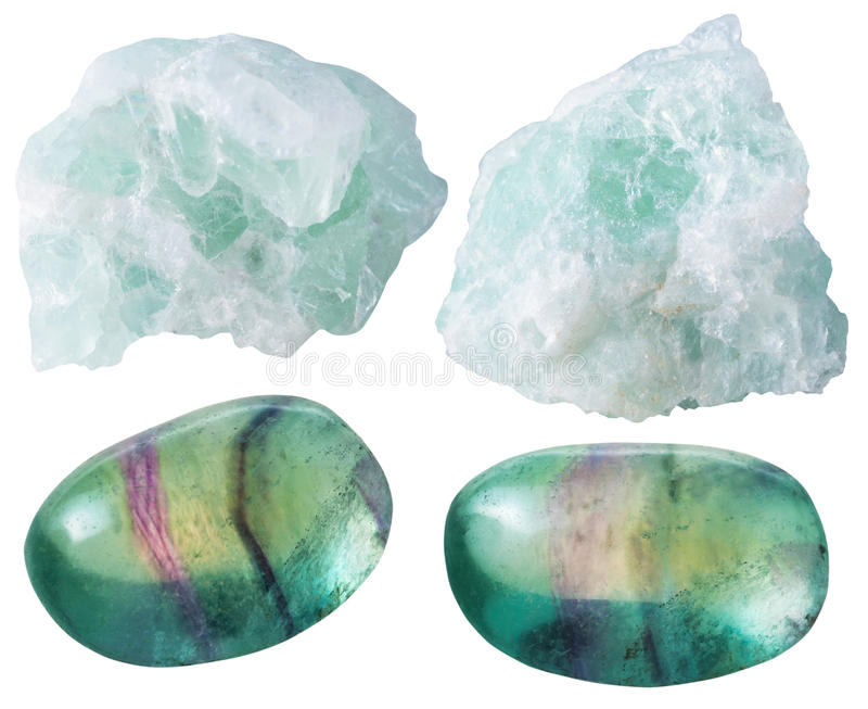 Fluorite (fluorspar) tumbled gem stones and rocks. Set of natural mineral gemstones - green Fluorite (fluorspar) tumbled gem stones and rocks isolated on white stock photos