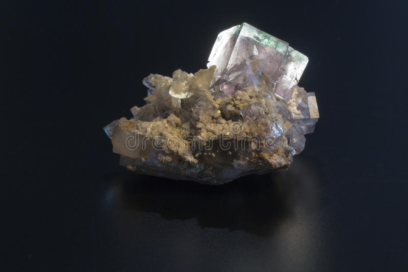 Fluorite mineral. On black background stock photo