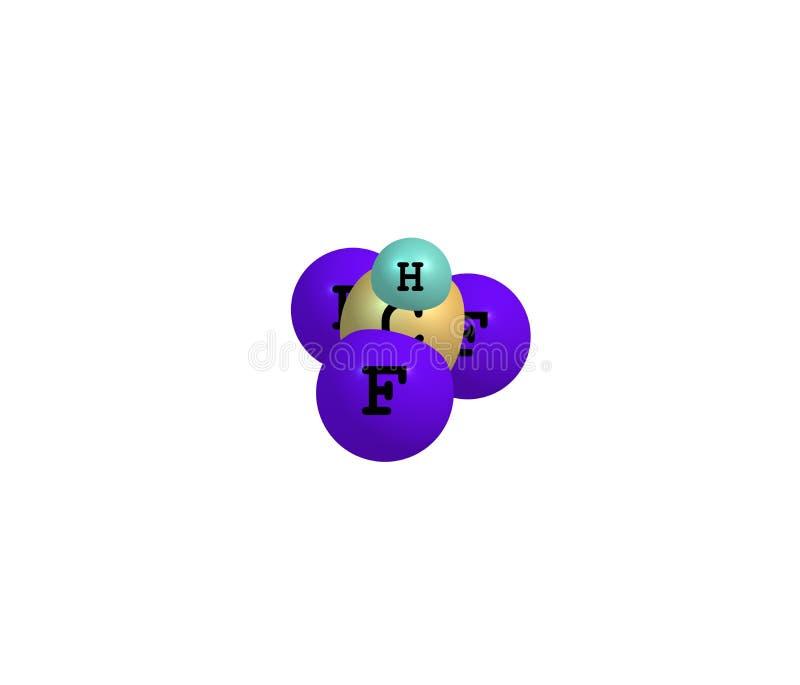 Fluoroform molekuła odizolowywająca na bielu ilustracja wektor