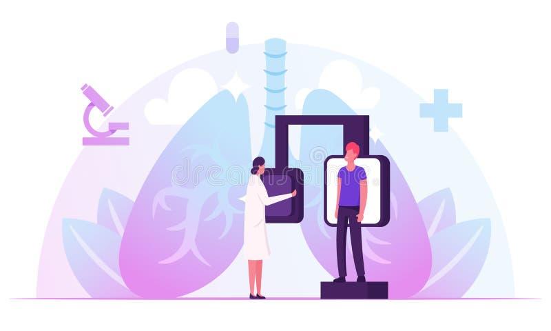 Fluorografisch onderzoek, controle van de röntgenmedische diagnostiek Radiologische apparatuur voor pulmonologische ziekte van de stock illustratie