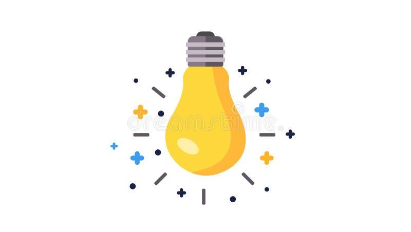 Fluorowa lightbulb ikona Żarówka znak Elektryczności i pomysłu symbol 3d tła ikona odizolowywający przedmiota biel Płaska wektoro ilustracja wektor