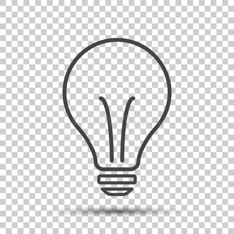 Fluorowa lightbulb ikona Żarówka znak Elektryczność i pomysł sy ilustracji