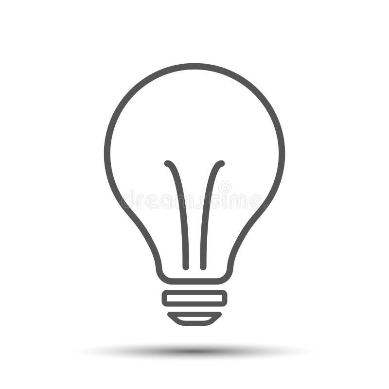 Fluorowa lightbulb ikona Żarówka znak Elektryczności i pomysłu symbol royalty ilustracja