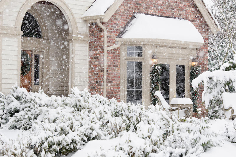 Download Flurries Of Snow Outside Home Stock Photo - Image of horizontal, snow: 21600738