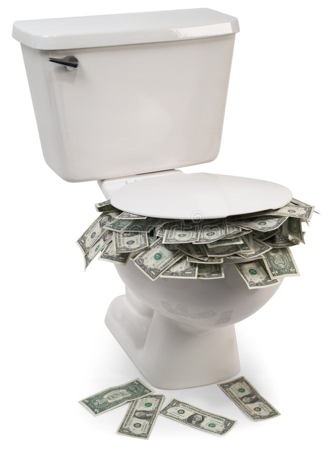 Flush with cash stock photography