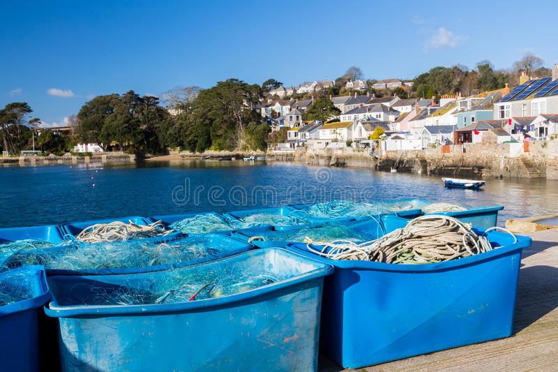 Flushing Cornwall. Fishing equipment at coastal village of Flushing on the Penryn River, Part of the Carrick Roads Cornwall England UK Europe stock images