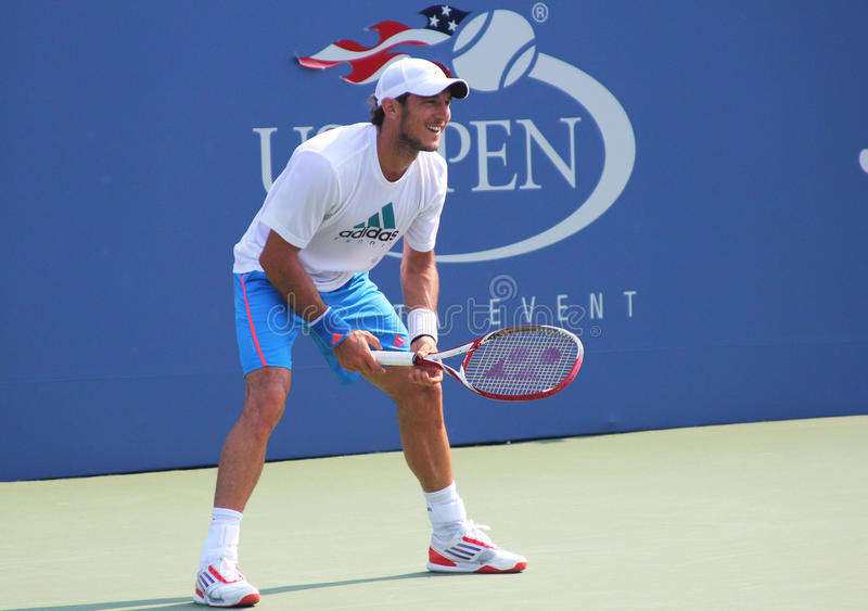 Professional tennis player Juan Monaco practices for US Openat Billie Jean King National Tennis Center royalty free stock photography
