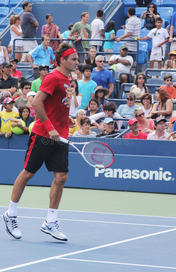Download Seventeen Times  Grand Slam Champion Roger Federer Practices For US Open  At Billie Jean King National Tennis Cente Editorial Stock Photo - Image of center, athlete: 29947273