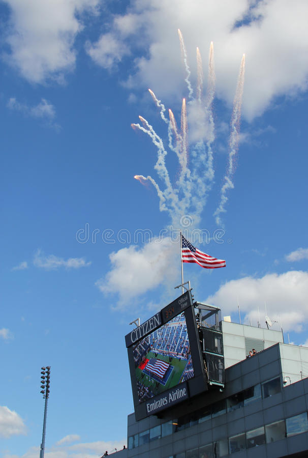 Download Firework At The Opening Ceremony Of  US Open Men Final Match  At Billie Jean King National Tennis Center Editorial Photography - Image: 29947282