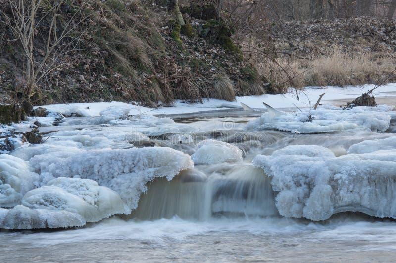 Fluss abgedeckt mit Eis lizenzfreies stockbild