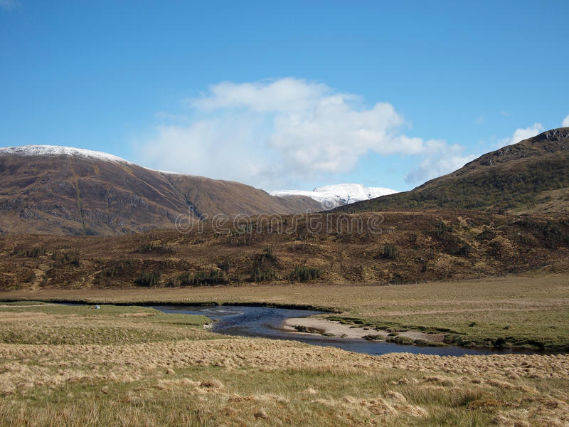 Fluss Affric in der Schlucht Affric, Schottland im Frühjahr. lizenzfreie stockfotos