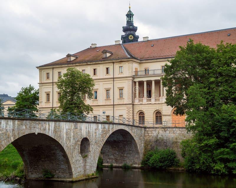 Fluss-Brückenparkblick Deutschland Weimar-Schloss-UNESCO Ilm lizenzfreie stockfotografie