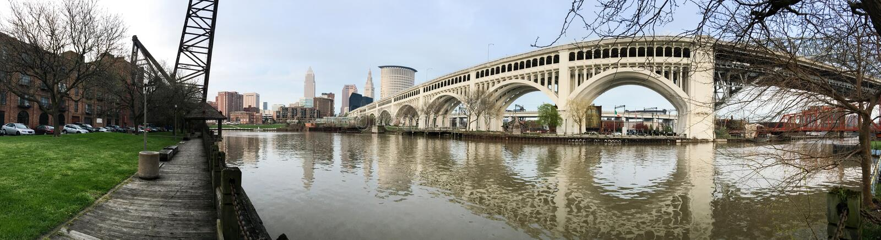 Fluss Cleveland Ohio Downtown City Skylines Cuyahoga lizenzfreies stockfoto