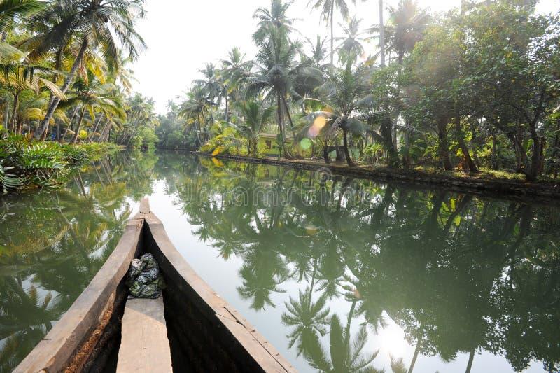 Fluss der Stauwasser bei Kollam stockbild