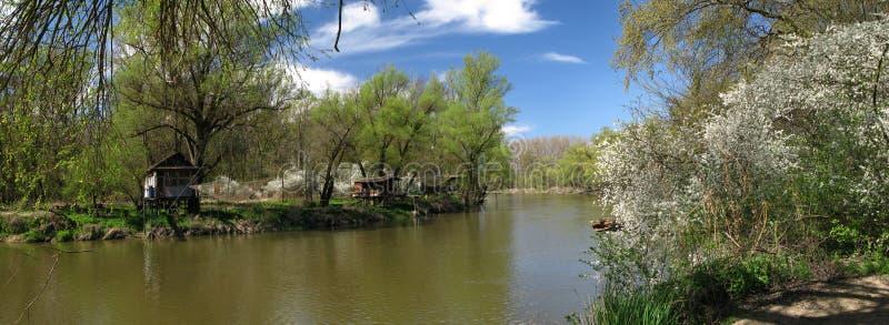 Fluss Dyje im Zusammenströmen mit Fluss Morava lizenzfreie stockfotos
