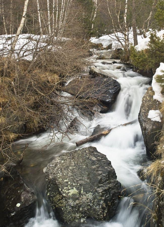 Fluss im Schnee lizenzfreie stockfotos