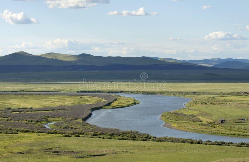 Fluss im Sommergrasland stockfotos