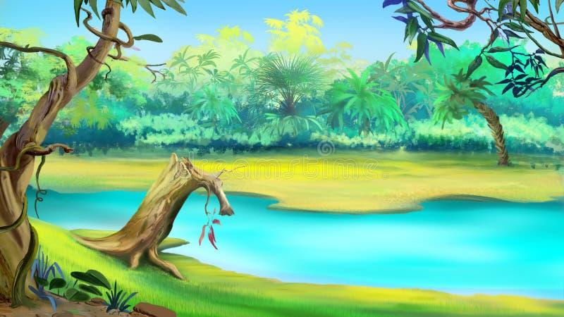 Fluss im tropischen Dschungel an einem sonnigen Tag stock abbildung