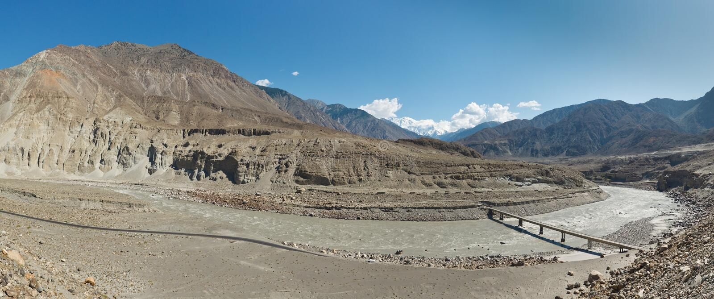 Fluss Indus-Panorama, Pakistan lizenzfreies stockbild