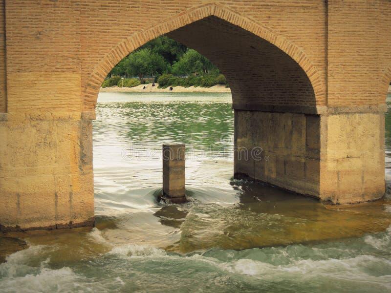 Fluss Isfahans Zayande durch historischen Brückenbogen Safavid Chubi lizenzfreie stockbilder