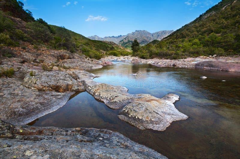 Fluss in Korsika stockbild