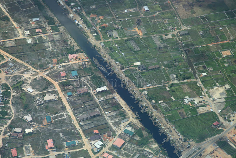 Fluss in Lagos Nigeria lizenzfreie stockbilder