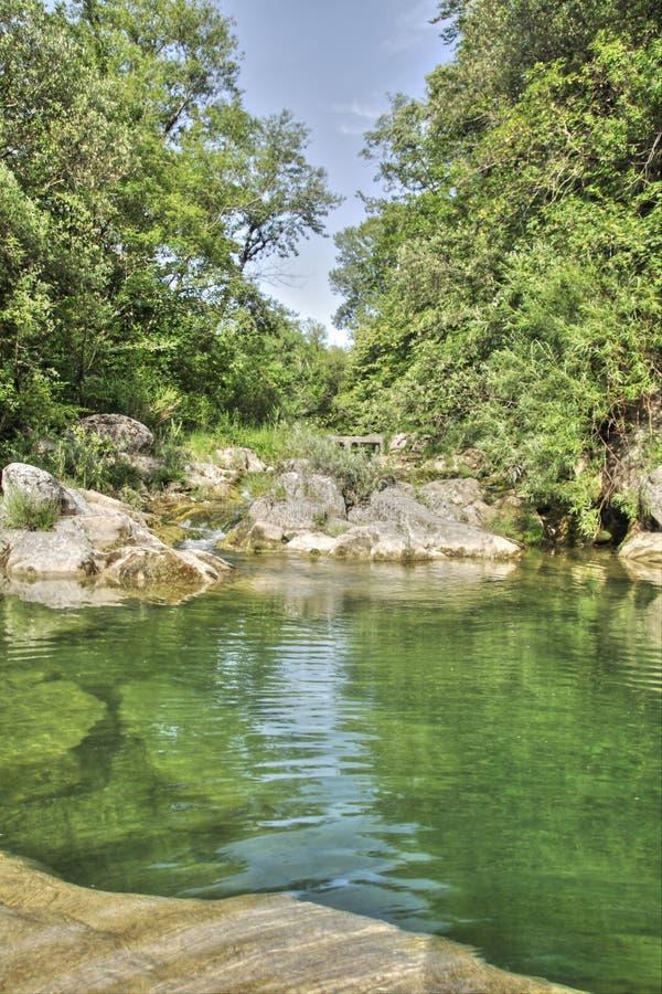 Fluss lauquet in Corbieres, Frankreich lizenzfreie stockbilder