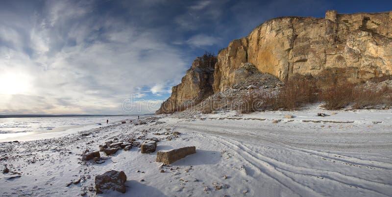 Fluss Lena, Yakutia Russland lizenzfreie stockbilder