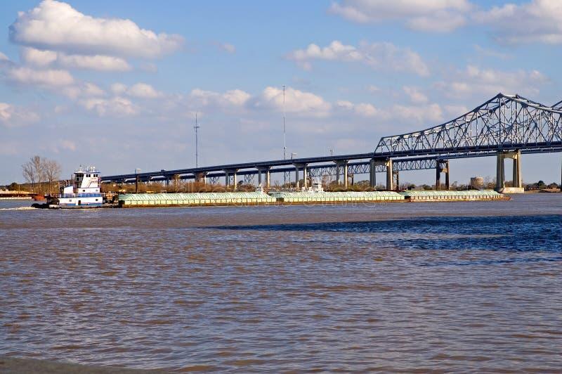 Fluss Mississipilastkahn stockfoto