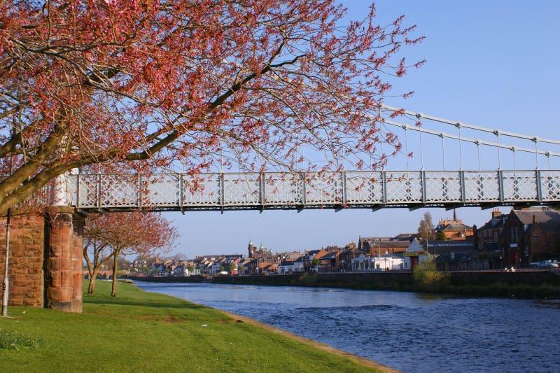 Fluss Nith Aufhebungbrücke, Dumfries lizenzfreie stockfotos