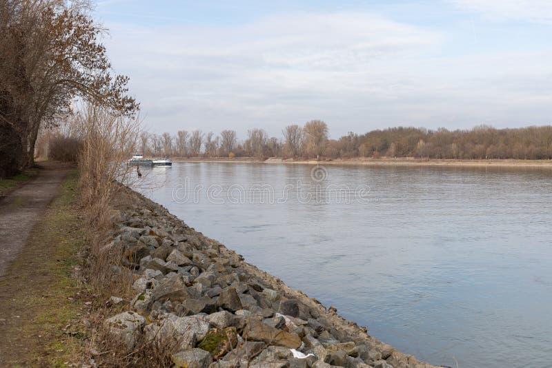 Fluss Rhein in den Würmern Rheinland-Pfalz Deutschland lizenzfreies stockfoto