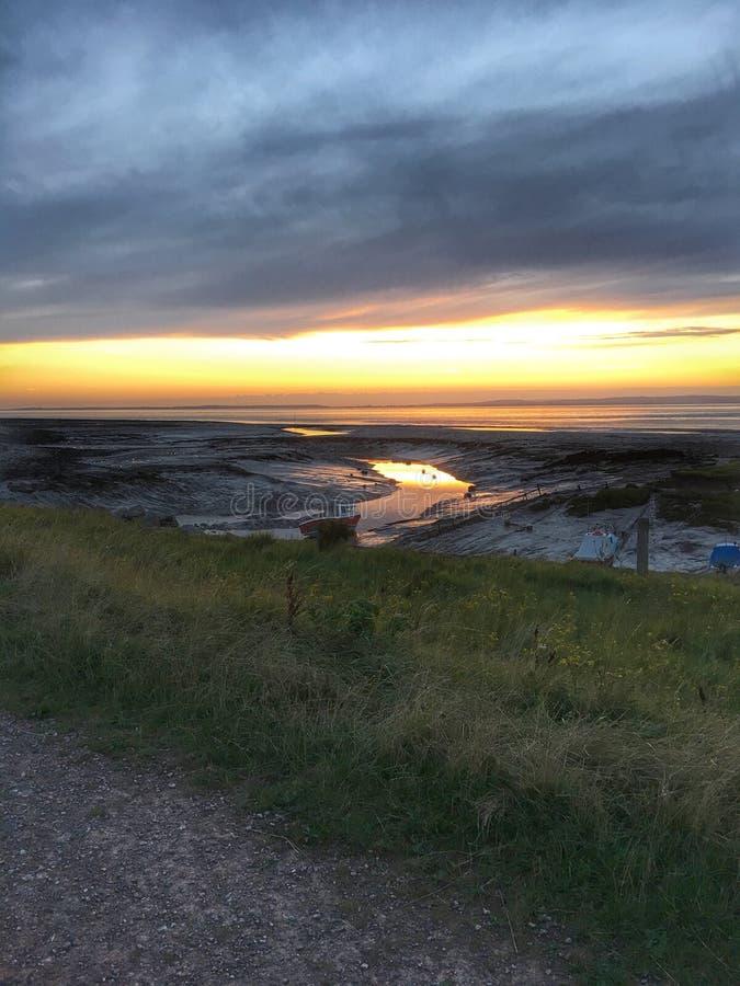 Fluss Severn-Sonnenuntergang stockbilder