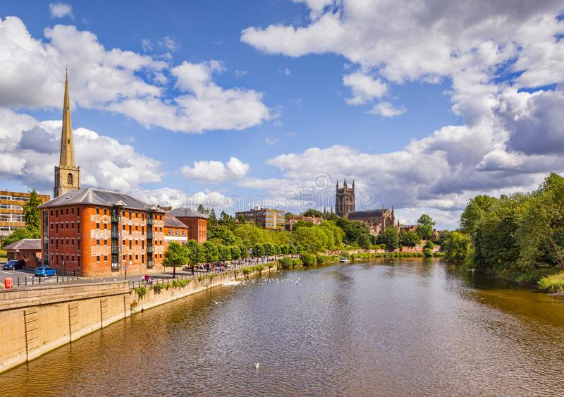 Fluss Severn in Worcester lizenzfreie stockfotos
