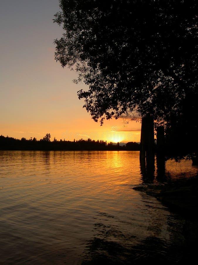 Fluss-Sonnenuntergang lizenzfreies stockfoto