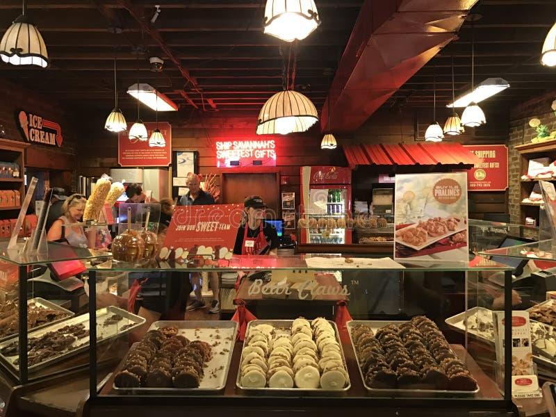 Fluss-Straßen-Bonbon-Süßwarenladen, Savanne, GA lizenzfreies stockfoto