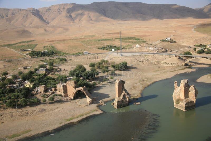 Fluss Tigris und Hasankeyf Dorf lizenzfreie stockbilder