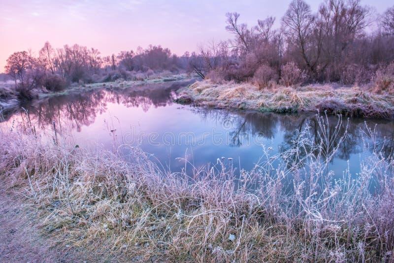 Fluss und Bäume im Herbst am Wintermorgen lizenzfreie stockfotos