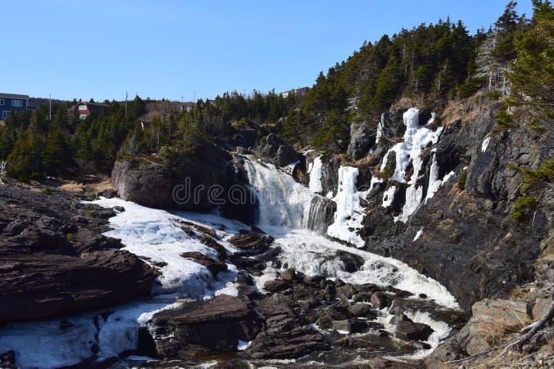 Fluss- und Wasserfalllandschaft stockfotografie