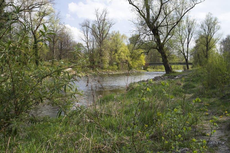 Fluss Wertach Augsburg lizenzfreies stockfoto