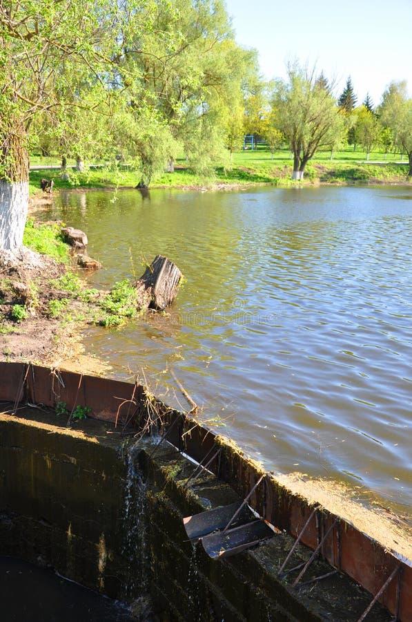 Flussabfluß unter einer Brücke gegen einen Hintergrund von grünen Bäumen stockfotografie